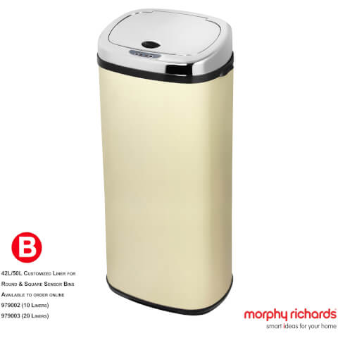 Morphy Richards 971518/MO 50L Square Sensor Bin - Cream