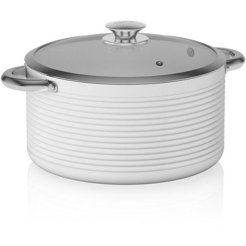 Tower T90912W LINEAR 24cm Ceramic Casserole Dish - White