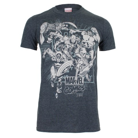 Marvel Men's Band of Heroes T-Shirt - Dark Heather