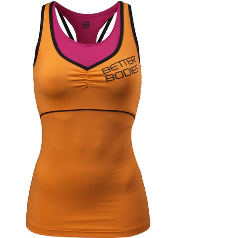 Better Bodies Women's 2 Layer Logo Tank Top - Bright Orange