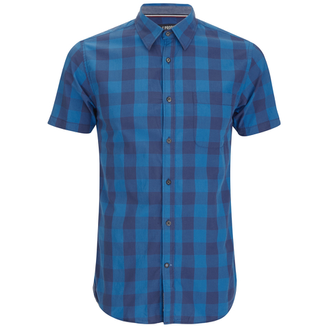 Produkt Men's Short Sleeve Checked Shirt - Dress Blue