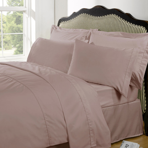 Highams 100% Egyptian Cotton Plain Dyed Bedding Set - Vintage Pink [China Sizing Only]