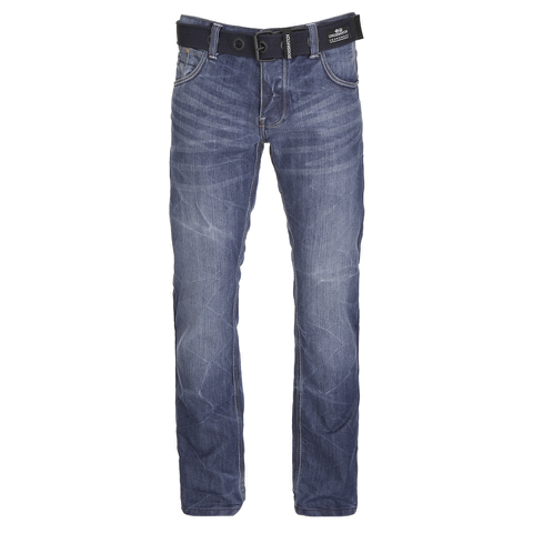 Crosshatch Men's New Embossed Techno Straight Fit Jeans - Stone Wash