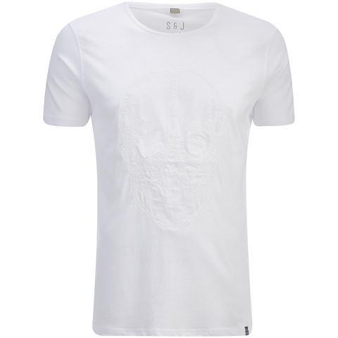 Smith & Jones Men's Diastyle Skull T-Shirt - White Nep