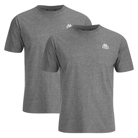 Kappa Men's Nico 2 Pack T-Shirts - Mid Grey Marl