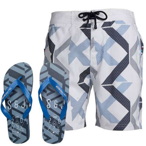 Smith & Jones Men's Diffraction Swim Shorts & Flip Flops - White