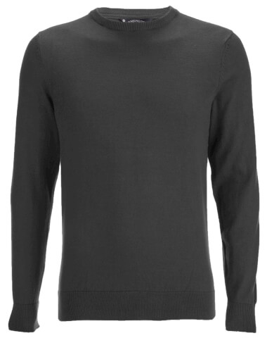 Kensington Eastside Men's Henriks Cotton Crew Neck Jumper - Charcoal