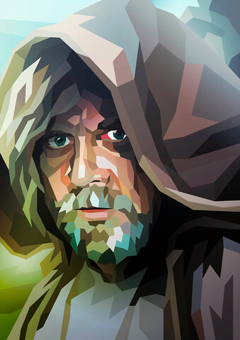 Star Wars Luke Skywalker Inspired Illustrative Fine Art Print - 16.5 x 11.7