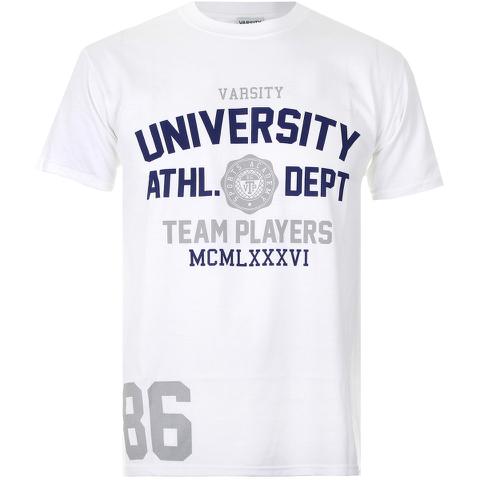 Varsity Team Players Men's University Athletic T-Shirt - White