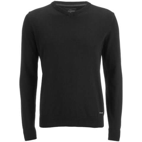Threadbare Men's Bleak Cotton V-Neck Jumper - Jet Black