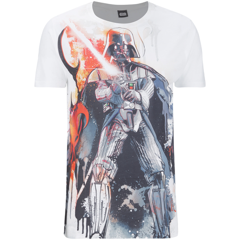 Star Wars Vader Stencil Heren T-Shirt - Wit