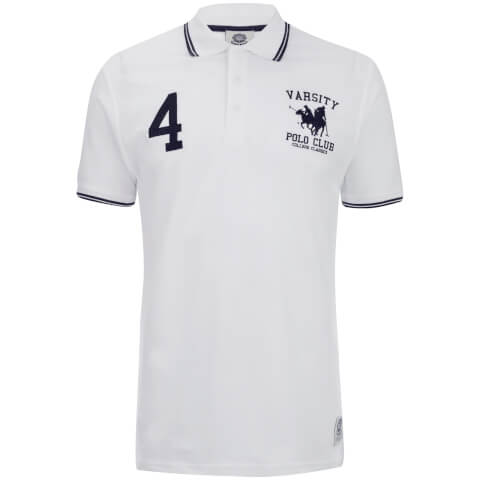 Varsity Team Players Men's College Polo Shirt - White/Navy