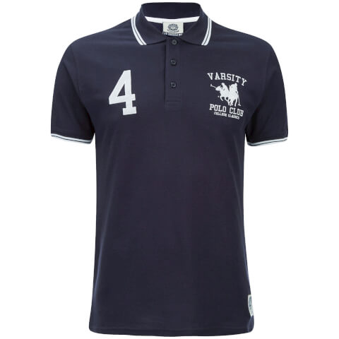 Varsity Team Players Men's College Polo Shirt - Navy/White