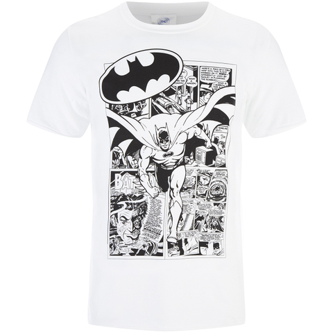 DC Comics Batman Herren Comic Strip T-Shirt - Weiß