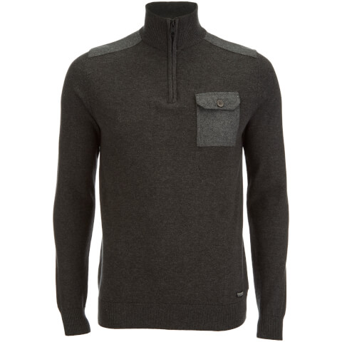 Pull Threadbare pour Homme Julian 1/2 Zip -Gris Chiné