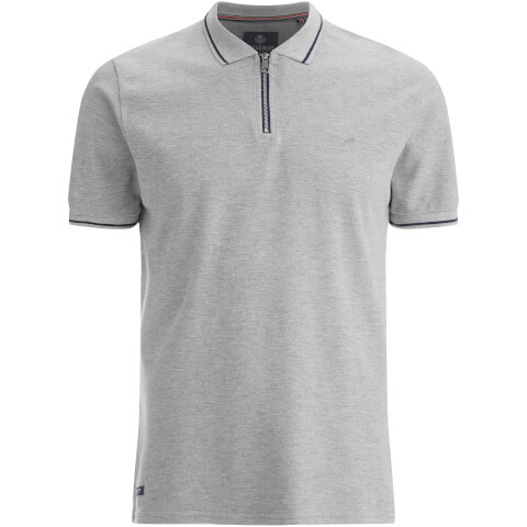 Polo Homme Homme Threadbare Redcar Short Zip - Gris