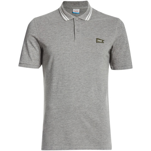 Jack & Jones Men's Originals Dept Tipped Polo Shirt - Light Grey Marl