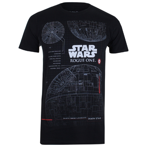 Star Wars Rogue One Men's Death Star Plans T-Shirt - Black