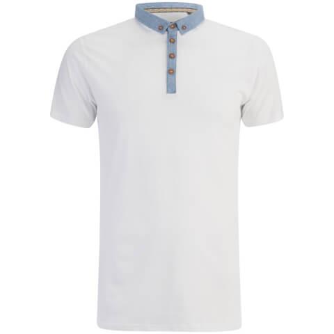 Brave Soul Men's Chimera Chambray Placket Polo Shirt - White