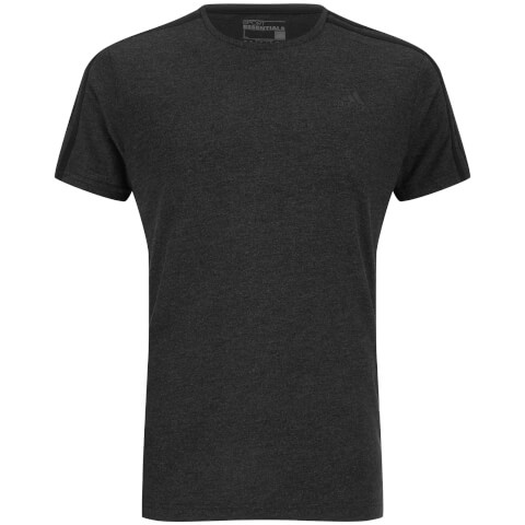 adidas Men's Sports Essential 3 Stripe T-Shirt - Charcoal