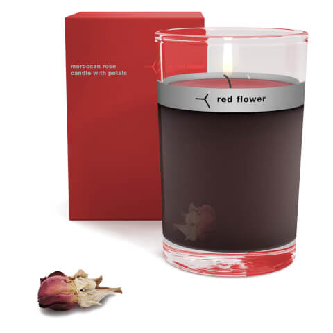Red Flower Moroccan Rose Petal Topped Candle
