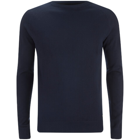 Threadbare Men's Sanders Textured Knit Jumper - Blue