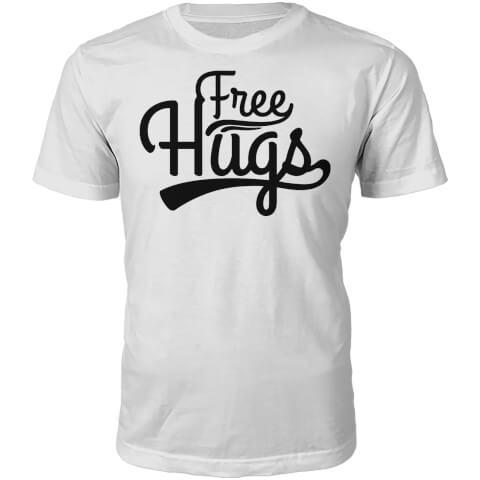 Free Hugs Slogan T-Shirt - White