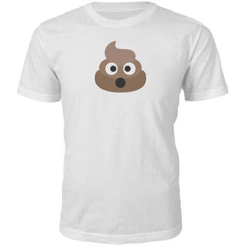 Emoji Unisex Poo Face T-Shirt - White