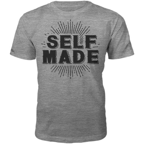Self Made Slogan T-Shirt - Grey