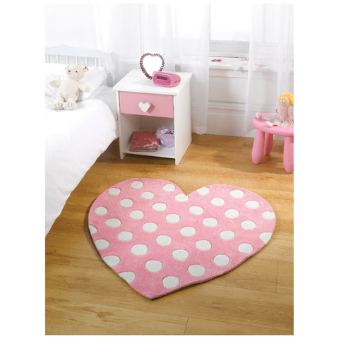 Flair Kiddy Play Rug - Polka Heart Pastel Pink(90X90)