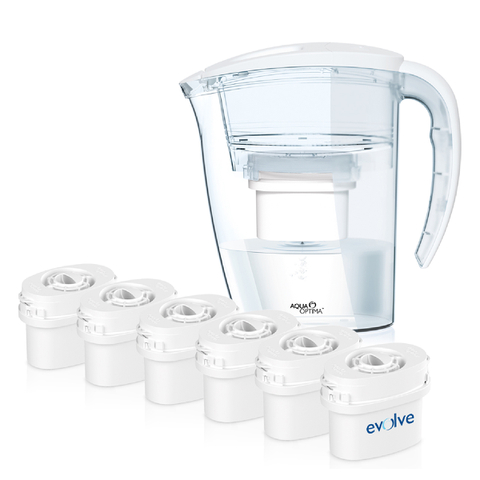 12 Month Bundle - Aqua Optima Galia Jug Plus 6 Cartridges 2.25L - White