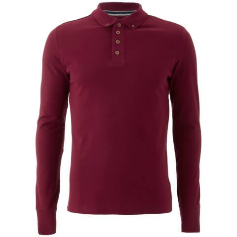 Brave Soul Men's Lincoln Long Sleeve Polo Shirt - Ruby Wine