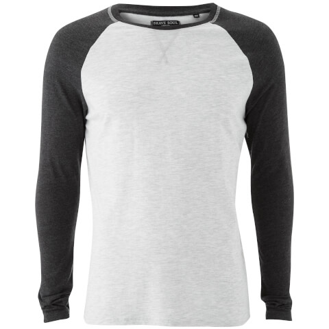 Brave Soul Men's Osbourne Raglan Long Sleeve Top - Ecru/Dark Charcoal