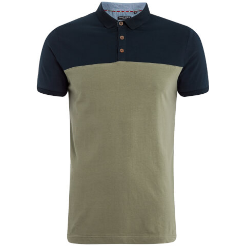 Brave Soul Men's Ceaser Panel Polo Shirt - Dusky Green