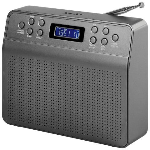 Akai DYNMX Portable DAB Radio with LCD Screen - Space Grey