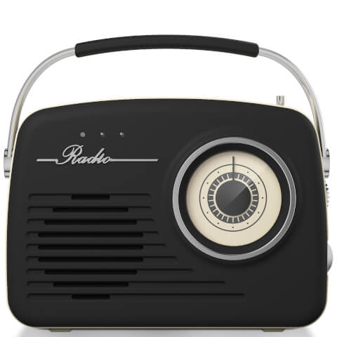 Akai Retro Vintage Portable Wireless AM/FM Radio - Black