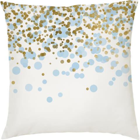 Confetti Print Cushion - Gold and Blue