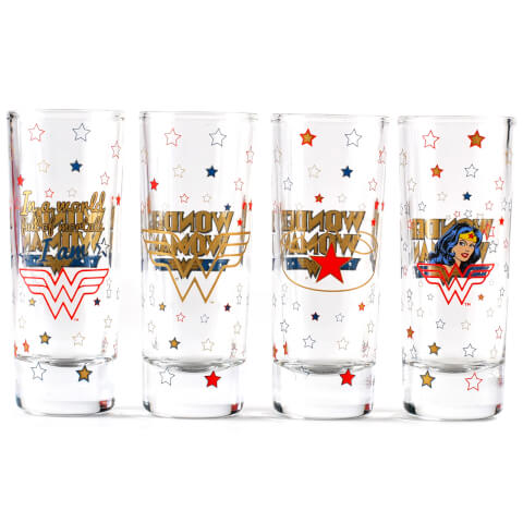 Mini Glasses Set of 4 - Wonder Woman (Stars)