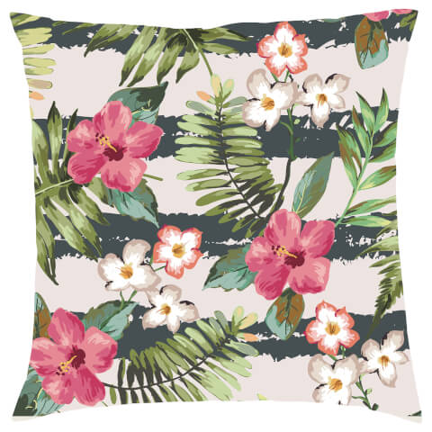 Tropical Stripe Floral Cushion