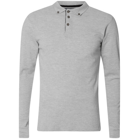 Advocate Men's Ralling Long Sleeve Polo Shirt - Light Grey Melange