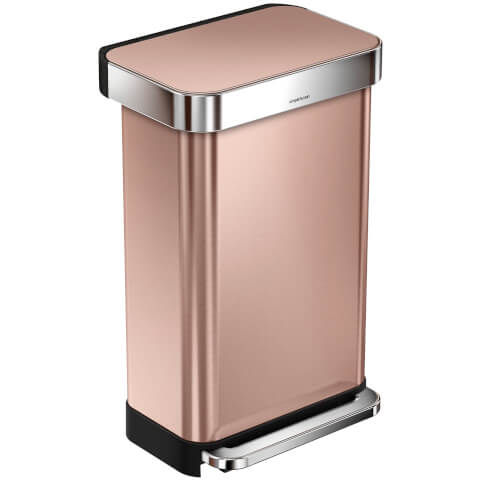 simplehuman Rectangular Pedal Bin with Liner Pocket - Rose Gold 45L