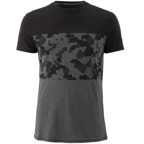 Threadbare Men's Independence Camo Panel T-Shirt - Charcoal