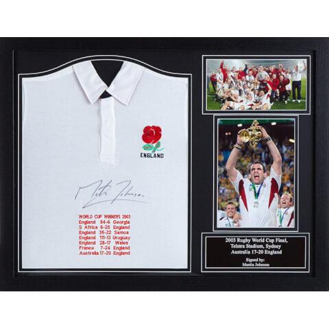 Martin Johnson Signed and Framed England Shirt