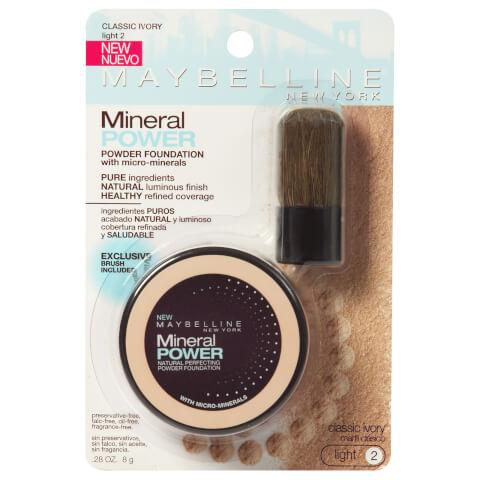 Maybelline Mineral Powder Foundation With Kabuki Brush #20 Classic Ivory 8g