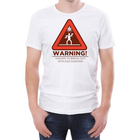 T-Shirt Homme Warning Dad Dancing -Blanc