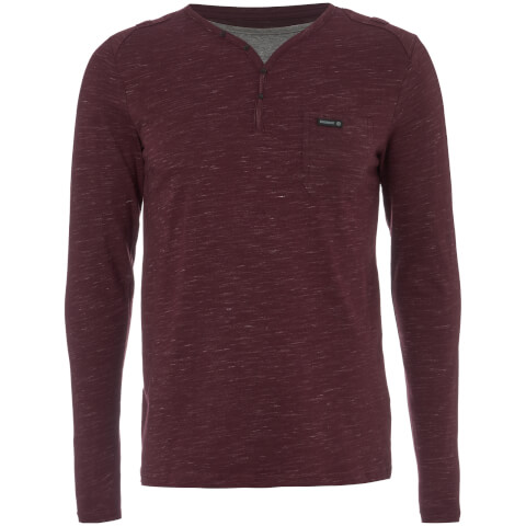 Dissident Men's Helter Mock Layered Long Sleeve Top - Mulled Wine