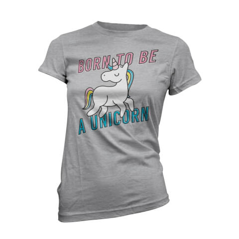 T-Shirt Born To Be A Unicorn -Gris