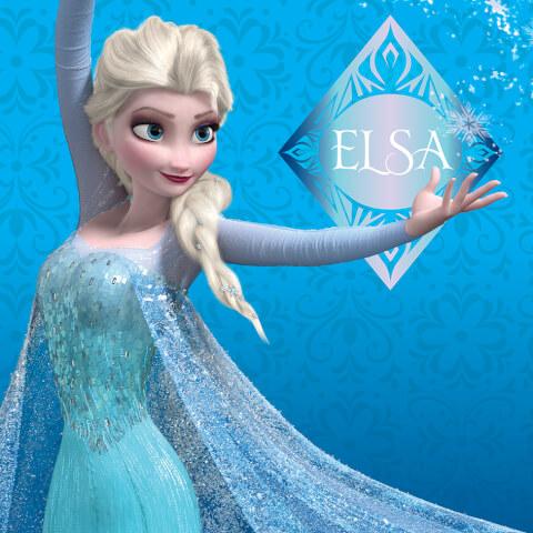 Affiche sur Toile la Reine des Neige Disney Elsa - Bleu 30 cm x 30 cm