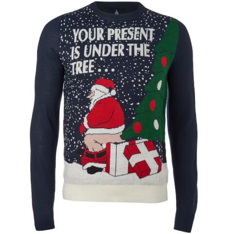Threadbare Men's Santa's Present Christmas Jumper - Navy