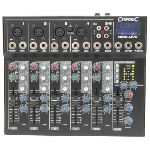 Citronic CM6-live Compact Mixers (Delay/USB/SD Player/6 Channel)